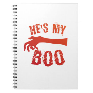He's My Boo Halloween Love Couple Married Spiral Notebook