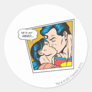 He's my hero round sticker
