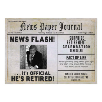HE'S RETIRED Invitation - PHOTO INSERT/ News