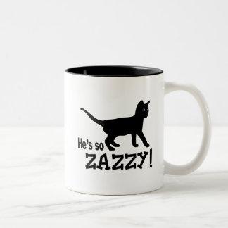 He's so Zazzy - Cat Lover Two-Tone Coffee Mug