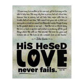 """""""Hesed Love Never Fails"""" Acrylic Wall Art, 16x20 Acrylic Wall Art"""