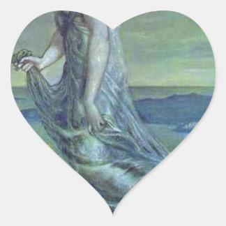 Hesperus. The Evening Star by Edward Burne-Jones Heart Sticker
