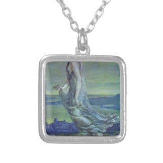 Hesperus. The Evening Star by Edward Burne-Jones Square Pendant Necklace