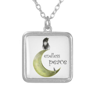 Hessaniata - cat on the moon silver plated necklace