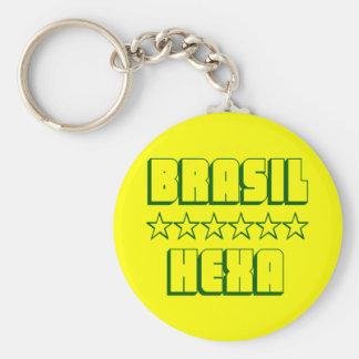 Hexa Brasil Campeões Futebol Estrelas Chaveiro