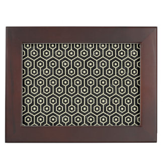 HEXAGON1 BLACK MARBLE & BEIGE LINEN KEEPSAKE BOX