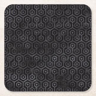 HEXAGON1 BLACK MARBLE & BLACK WATERCOLOR SQUARE PAPER COASTER