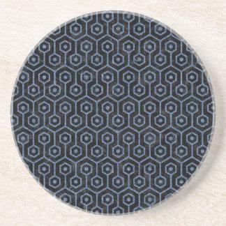 HEXAGON1 BLACK MARBLE & BLUE DENIM COASTER