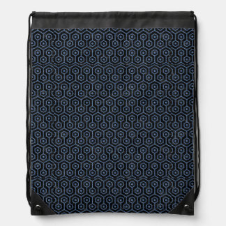 HEXAGON1 BLACK MARBLE & BLUE DENIM DRAWSTRING BAG