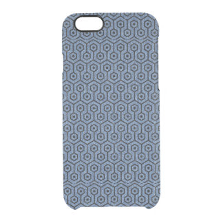 HEXAGON1 BLACK MARBLE & BLUE DENIM (R) CLEAR iPhone 6/6S CASE