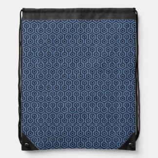 HEXAGON1 BLACK MARBLE & BLUE DENIM (R) DRAWSTRING BAG