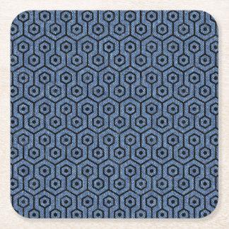 HEXAGON1 BLACK MARBLE & BLUE DENIM (R) SQUARE PAPER COASTER
