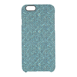 HEXAGON1 BLACK MARBLE & BLUE-GREEN WATER (R) CLEAR iPhone 6/6S CASE