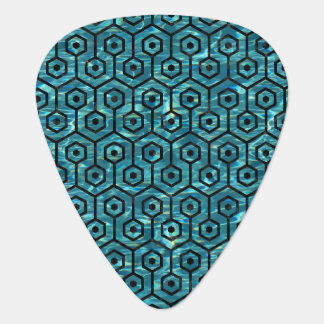 HEXAGON1 BLACK MARBLE & BLUE-GREEN WATER (R) GUITAR PICK
