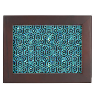 HEXAGON1 BLACK MARBLE & BLUE-GREEN WATER (R) KEEPSAKE BOX