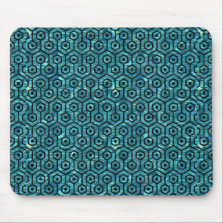 HEXAGON1 BLACK MARBLE & BLUE-GREEN WATER (R) MOUSE PAD