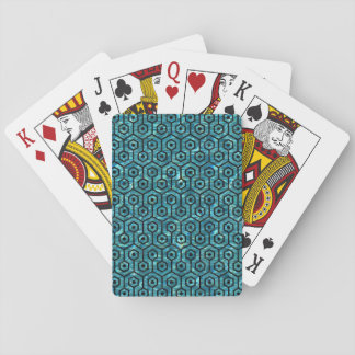 HEXAGON1 BLACK MARBLE & BLUE-GREEN WATER (R) PLAYING CARDS