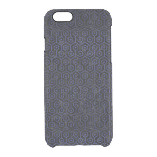 HEXAGON1 BLACK MARBLE & BLUE LEATHER CLEAR iPhone 6/6S CASE