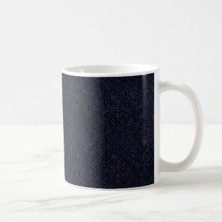 HEXAGON1 BLACK MARBLE & BLUE LEATHER COFFEE MUG