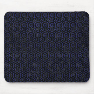 HEXAGON1 BLACK MARBLE & BLUE LEATHER MOUSE PAD