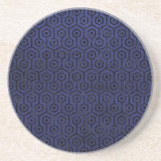 HEXAGON1 BLACK MARBLE & BLUE LEATHER (R) COASTER