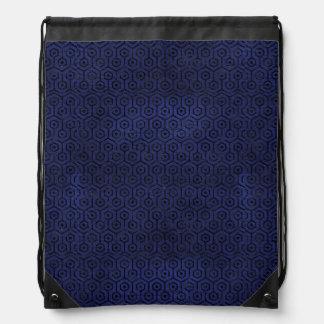 HEXAGON1 BLACK MARBLE & BLUE LEATHER (R) DRAWSTRING BAG