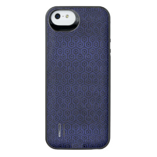 HEXAGON1 BLACK MARBLE & BLUE LEATHER (R) iPhone SE/5/5s BATTERY CASE