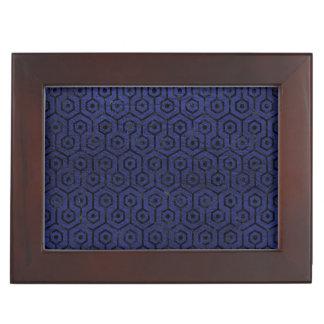 HEXAGON1 BLACK MARBLE & BLUE LEATHER (R) KEEPSAKE BOX