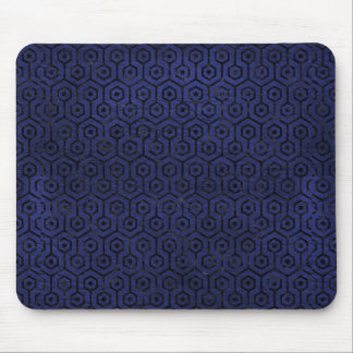 HEXAGON1 BLACK MARBLE & BLUE LEATHER (R) MOUSE PAD
