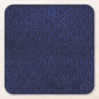 HEXAGON1 BLACK MARBLE & BLUE LEATHER (R) SQUARE PAPER COASTER