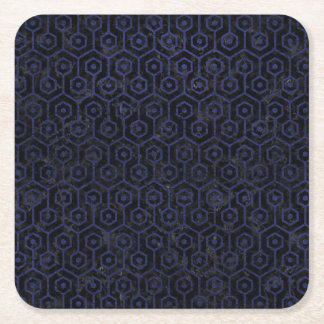 HEXAGON1 BLACK MARBLE & BLUE LEATHER SQUARE PAPER COASTER
