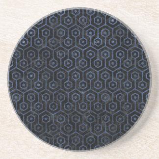 HEXAGON1 BLACK MARBLE & BLUE STONE COASTER