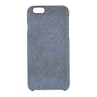 HEXAGON1 BLACK MARBLE & BLUE STONE (R) CLEAR iPhone 6/6S CASE
