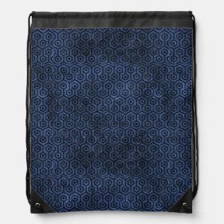 HEXAGON1 BLACK MARBLE & BLUE STONE (R) DRAWSTRING BAG