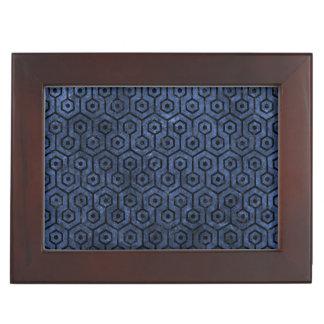 HEXAGON1 BLACK MARBLE & BLUE STONE (R) KEEPSAKE BOX