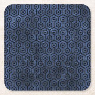 HEXAGON1 BLACK MARBLE & BLUE STONE (R) SQUARE PAPER COASTER