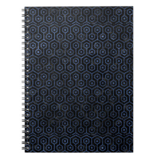 HEXAGON1 BLACK MARBLE & BLUE STONE SPIRAL NOTEBOOK