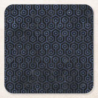 HEXAGON1 BLACK MARBLE & BLUE STONE SQUARE PAPER COASTER