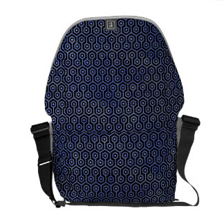 HEXAGON1 BLACK MARBLE & BLUE WATERCOLOR COURIER BAG