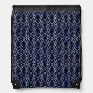 HEXAGON1 BLACK MARBLE & BLUE WATERCOLOR DRAWSTRING BAG