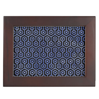 HEXAGON1 BLACK MARBLE & BLUE WATERCOLOR KEEPSAKE BOX