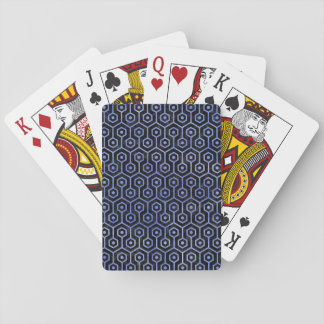HEXAGON1 BLACK MARBLE & BLUE WATERCOLOR PLAYING CARDS