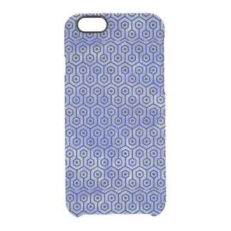 HEXAGON1 BLACK MARBLE & BLUE WATERCOLOR (R) CLEAR iPhone 6/6S CASE