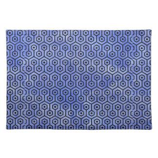 HEXAGON1 BLACK MARBLE & BLUE WATERCOLOR (R) PLACEMAT
