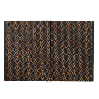 HEXAGON1 BLACK MARBLE & BROWN STONE COVER FOR iPad AIR