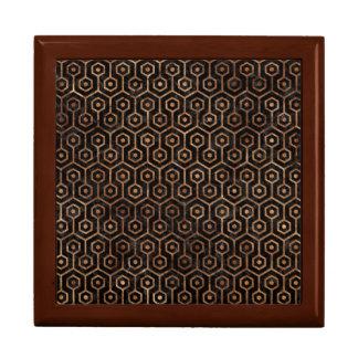 HEXAGON1 BLACK MARBLE & BROWN STONE GIFT BOX