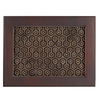 HEXAGON1 BLACK MARBLE & BROWN STONE KEEPSAKE BOX