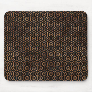 HEXAGON1 BLACK MARBLE & BROWN STONE MOUSE PAD