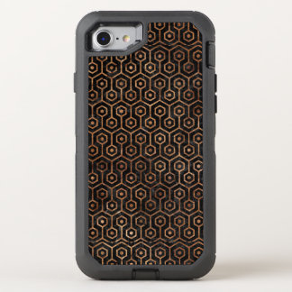 HEXAGON1 BLACK MARBLE & BROWN STONE OtterBox DEFENDER iPhone 8/7 CASE