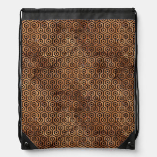 HEXAGON1 BLACK MARBLE & BROWN STONE (R) DRAWSTRING BAG